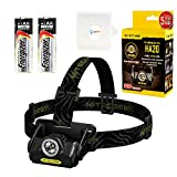 Nitecore HA20 CREE XP-G2 LED Headlamp 300 Lumens w/ 2x Energizer Max Alkaline AA batteries and Lightjunction AA Battery Case.