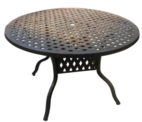 ATC Design Antique Bronze Solid Cast Aluminum Table, 48'' D x 28'' H by American Trading Company