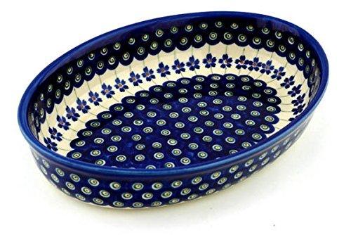 Polish Pottery Oval Baker 11-inch Flowering Peacock