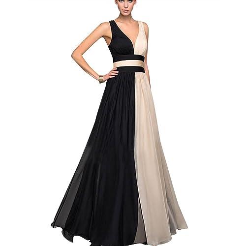 Mujer V Cuello Sin Mangas Cintura Alta Novia Bodas Elegante Vestidos Largos