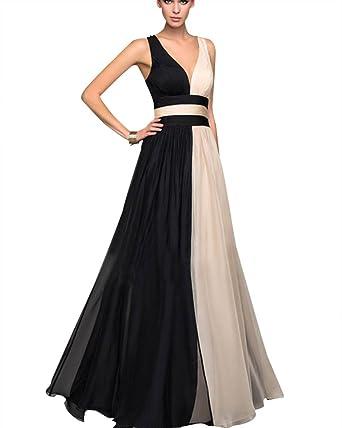 Femme Col V Profond Tulle sans Manches Taille Haute Mariée Cocktail Robe  Noir XL b34fddbfefd