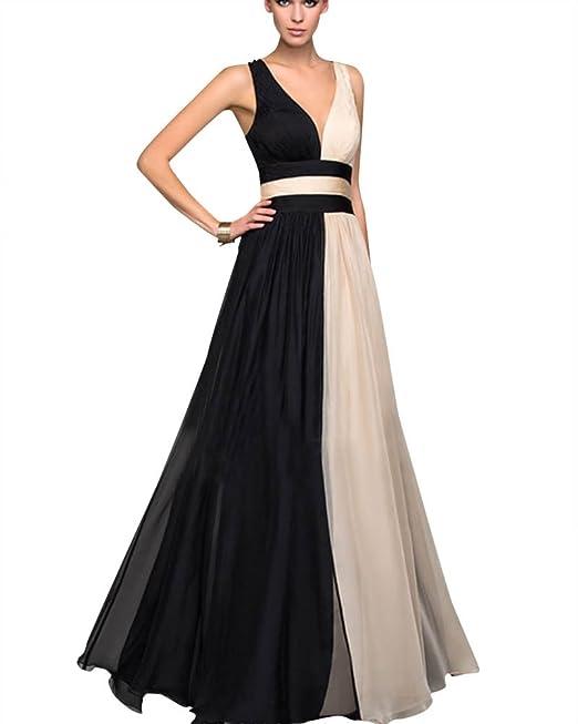PengGeng Mujer V Cuello Sin Mangas Cintura Alta Novia Bodas Elegante Vestidos Largos Negro L