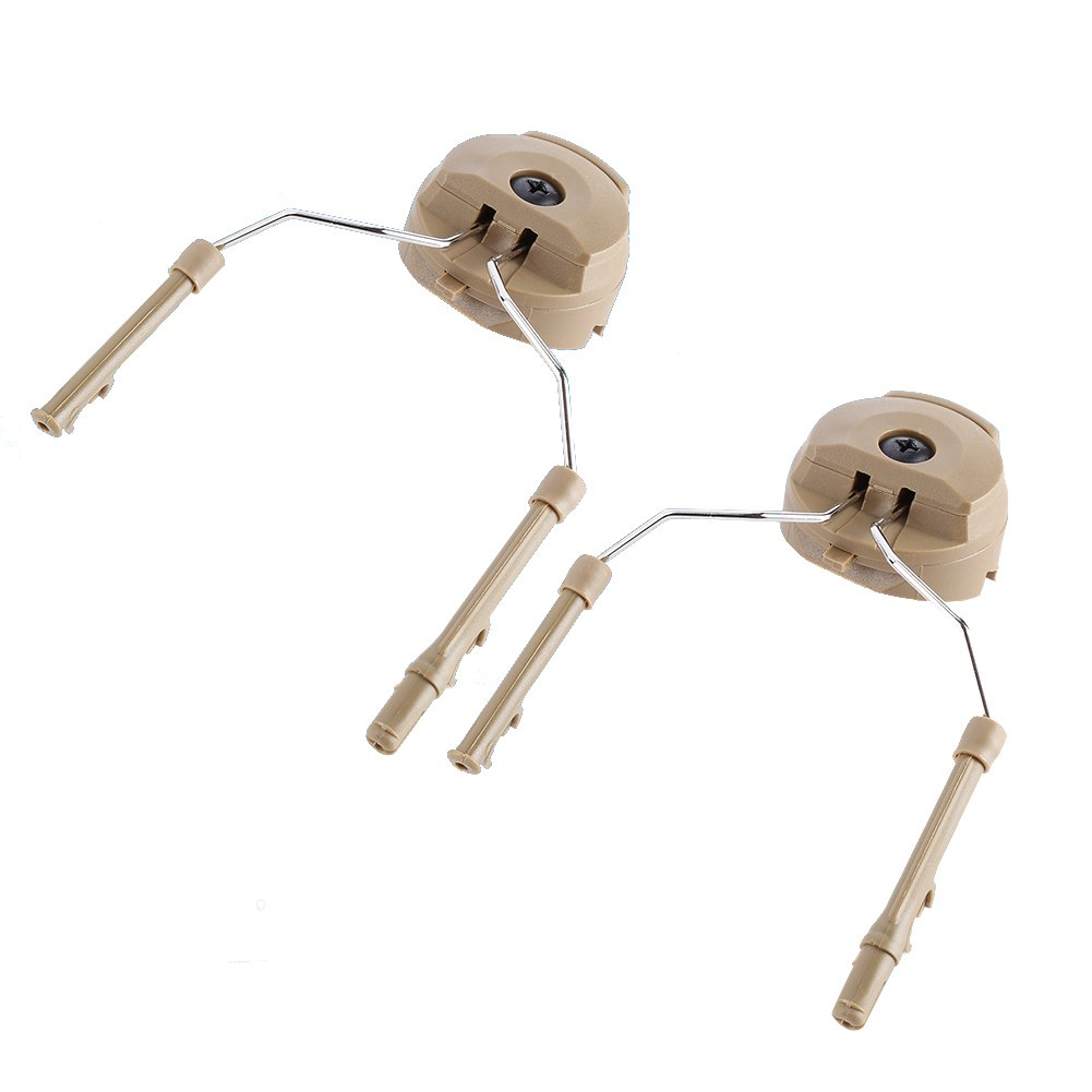 1Pair Tactical Helmet Headset Support ARC Rail Adaptor Suspension Headphones Bracket Hunting Earmuffs Left & Right Side Attachments For Peltor Comtac (Tan)