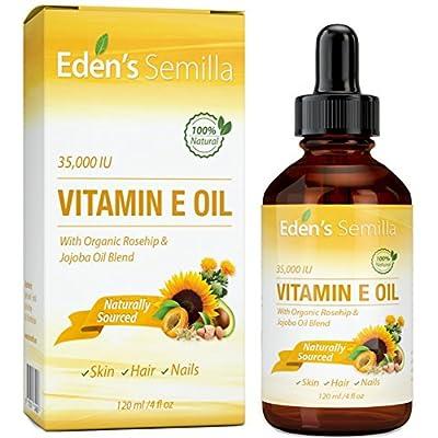100% Vitamina E Natural 35,000 IU + Aceite Orgánico de Rosa Mosqueta y Aceite de Jojoba - 120ml. Protección de la piel para el cuerpo y la cara de Rápida absorción. Ingredientes puros ideales para