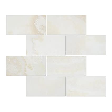 White Onyx (Bianco Fantastico) 3 X 6 Subway Brick Tile, Cross-Cut ...