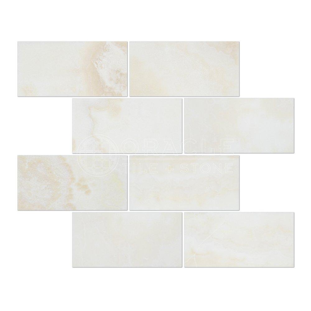 White Onyx (Bianco Fantastico) 3 X 6 Subway Brick Tile, Cross-Cut, Polished - Box of 5 sq. ft.