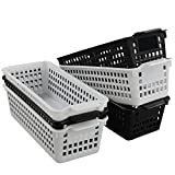 Idomy Slim Plastic Storage Trays Baskets, Set of 6, Black and White