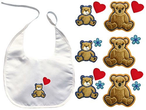 Baby Toddler Boy Girl unisex White Bib Kaylee Firefly Cute Bear Embroidery Patch (Bear # 2 Flower) ()