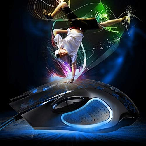 Black Color : Black Mice 169 USB 2400DPI Four-Speed Adjustable LED Backlight Wired Optical E-Sport Gaming Mouse with Counter Weight Length: 1.45m Computer Accessories