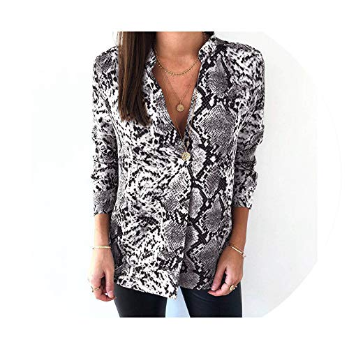 (Snake Print Blouse Women Tops and Blouses Casual Long Sleeve Shirts Office Vintage Shirt Tunic Camisas Gray)