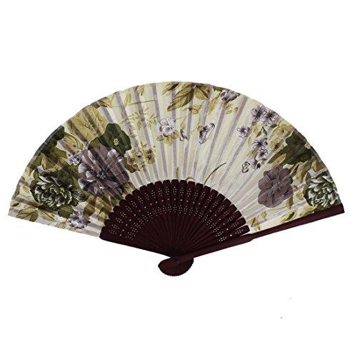 uxcell Wooden Frame Fabric Flower Pattern Wedding Handheld Folding Fan Beige