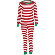 Hot Sales!! ZOMUSA Christmas Winter Pajamas Long Sleeve and Striped Bottoms Cotton Blouse +Pants Set Sleepwear