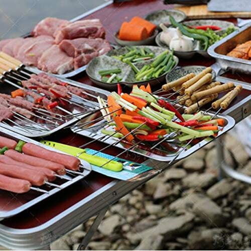 Uniqueheart Flat Barbecue Stick BBQ Roasting Needle with Wooden Handle Brochette Tong Kebab Skewers Stainless Steel Roasting Tools
