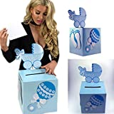 Adorox 3D blue Baby Shower Wishing Well Card Box Decoration Cute Pretty Keepsake Carriage Rattle