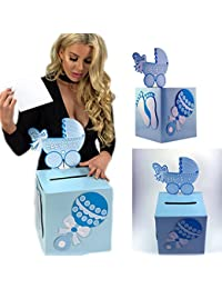 Adorox 3D blue Baby Shower Wishing Well Card Box Decoration Cute Pretty Keepsake Carriage Rattle BOBEBE Online Baby Store From New York to Miami and Los Angeles