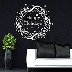 Christmas Wreath Wall Decals Happy New Year Holiday Decorations Vinyl Home Shop Window Door Art Decor Sticker Removable Murals MR897 91