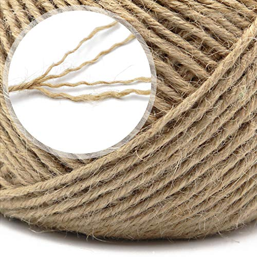 328 Feet 4 Ply 3mm Natural Jute Twine with 100pcs Mini Wooden Clothespins for Gift Wrapping, Picture Hanging, Arts&Crafts, Photo Display
