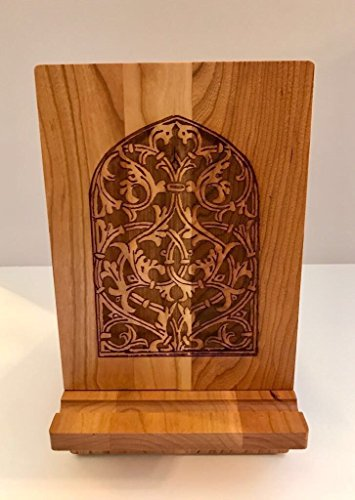 Wooden Tablet or iPad Stand With Medieval Mamluk Window Design Etched On Surface. Sophisticated Historical Home Or Office Decor