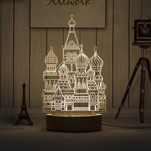 WANQINGW Plug-In-Nachttischlampe Der Tischlampe 3D Energiesparende Hölzerne Kreative Elche des Weichen Lichtkaninchen Nachtlicht-Glases