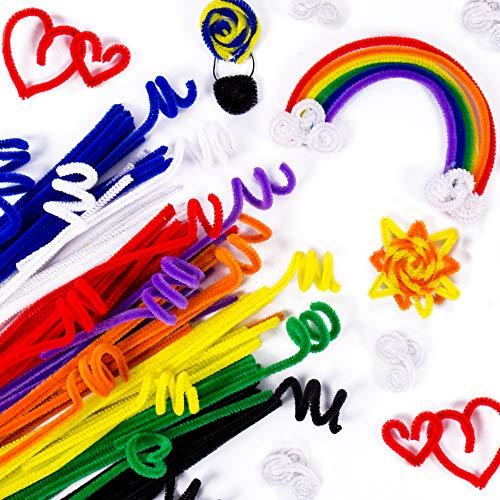 Horizon Group USA Rainbow Fuzzy Sticks. Pipe Cleaner, Bendi Sticks, Chenille Stems- 200 Pack, Multicolor