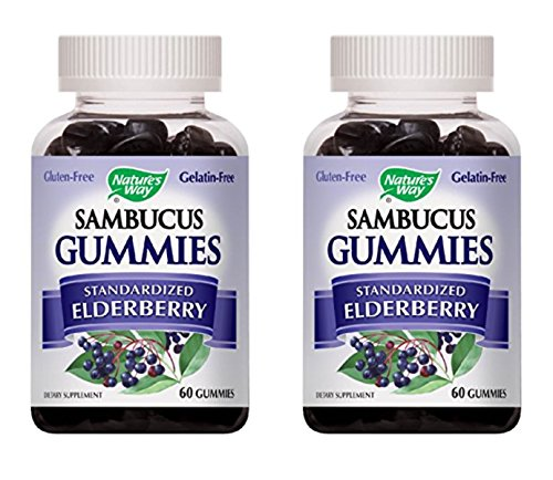 Nature's Way Sambucus Elderberry Gummies, Herbal Supplements with Vitamin C and Zinc, Gluten Free, Vegetarian, 60 Gummies (Pack of 2)