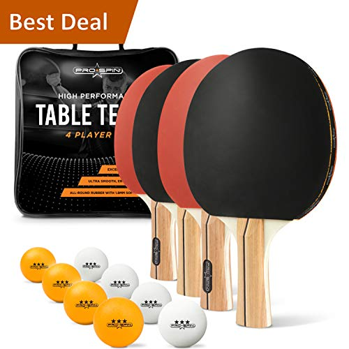 PRO SPIN Ping Pong Paddle Set - 4 Performance Paddles/Rackets, 8 Ping Pong Balls (3-Star), Premium Storage Case - for Indoor & Outdoor Tables & Games