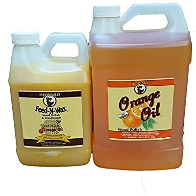 Howard Feed-N-Wax 1/2 Gallon and Howard Orange Oil Gallon, Clean Kitchen Cabinets, Wood Cleaner, Orange Wood Cleaner, Clean Hardwood Floors, Beeswax Wood Preserver