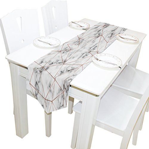 ALAZA Table Runner Home Decor, Rose Gold Marble Table Cloth