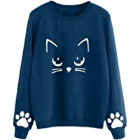 Femme Chat Imprimer Sweat-Shirt Hiver, Pullover Sweats Col Rond Casual Elegant Chemisier Streetwear Automne Sports Manches Longues Mode Hooded Blouson