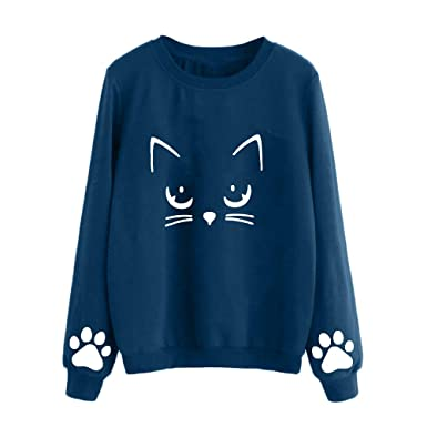 Clearance! Womens Casual Pullover Sweatshirt Blouse Long Sleeve Cartoon Cat Crew Neck Tunic Top Shirt