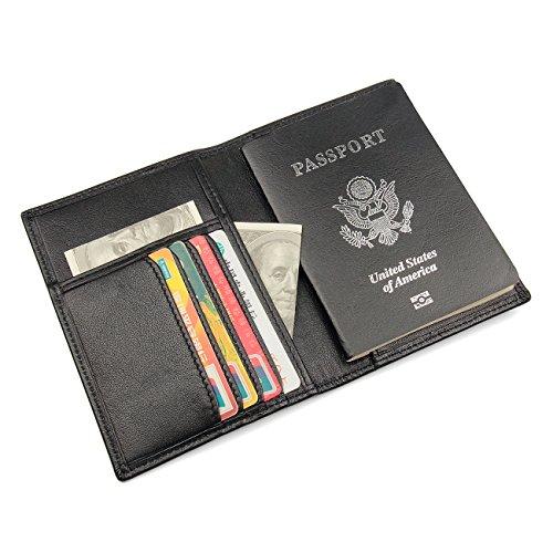 RFID Blocking Men's Slim Genuine Leather Passport Holder Travel Bifold Wallet