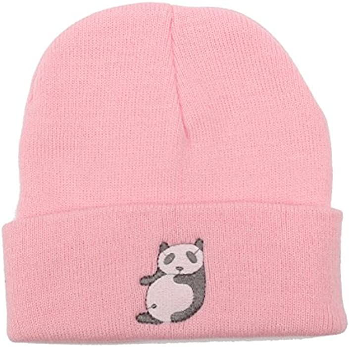 b554b0361c9 YY Club 2016 Fashion New Hot Candy Color Cartoon Panda Pattern Knitted Cap  Hat Men and Women Wool Hat(Color  Pink) (Pink)  Amazon.co.uk  Clothing