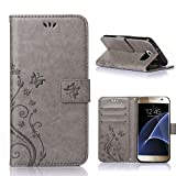 MOONCASE Galaxy S7 Wallet Case Flower Pattern Premium PU Leather Case for Samsung Galaxy S7 Bookstyle Soft TPU [Shock Absorbent] Flip Bracket Cover Grey