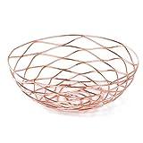 Prime Leader Metal Wire Storage Organizer Basket for Desktop Clothing Fruit Snacks Tray Kitchen Tool Holders Rose gold 8.2''x8.2''x2.5''