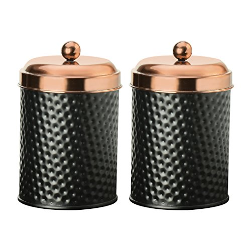 Amici Home, 7CDI030S2R, Ashby Collection Hammered Finish Black Matte Metal Storage Canister, Push Top Copper Tone Lid, Food Safe, 24 Ounces (Small) Set of 2