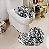 L-QN 2 Piece Large Contour Toilet mat Forest Tree Branches Modern Decor Spooky Horror Movie Themed Print Black White High Density Space Memory Cotton