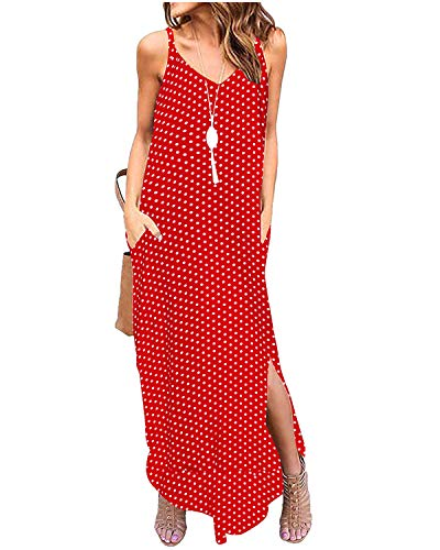 MINTLIMIT Women's Plain Casual Loose Pocket V Neck Dress Sleeveless Split Maxi Dress Red Polka Dot L