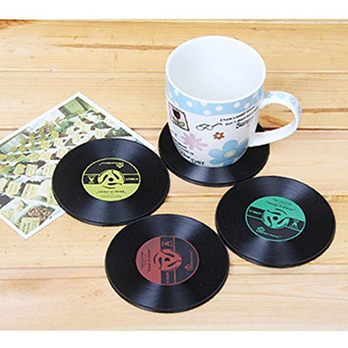 Vintage Vinyl Record Drink Coasters - Set of 4 Retro Bar Coasters for Drinks - Perfect Gift For Musicians