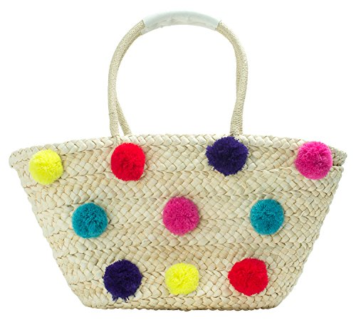 AnnaKastle Womens Girls Handmade Straw Basket Woven Beach Tote Bag With Colorful Pom Poms
