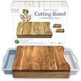 Cutting Board with Trays - Organic Acacia Wood Butcher Block with Containers White Pale Blue
