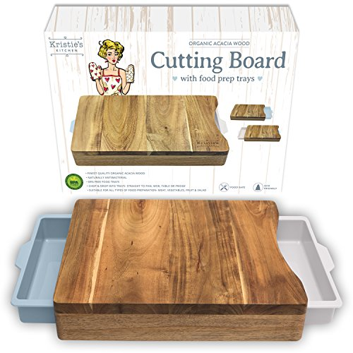 Chopping Board with Tray - White Pale Blue- Wood Cutting Boards for Kitchen - Organic Acacia Butcher Block (Best Wood For Chopping Board Uk)