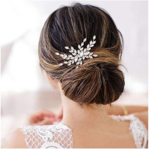 Olbye Wedding Hair Comb Rhinestone Bridal Hair Accessories Hair Comb Wedding Head Piece (Silver)