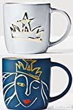 Starbucks Anniversary Mug Set 2016 Cool Gray Gold Crown and Navy Blue Engraved Set Rare