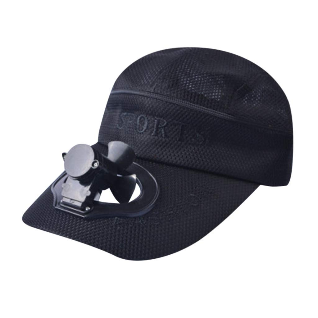 TIFENNY 2019 New Fan Cap Summer Fan Cooling Baseball Cap Hat USB Charging Breathable Shade Sunscreen Hat Black