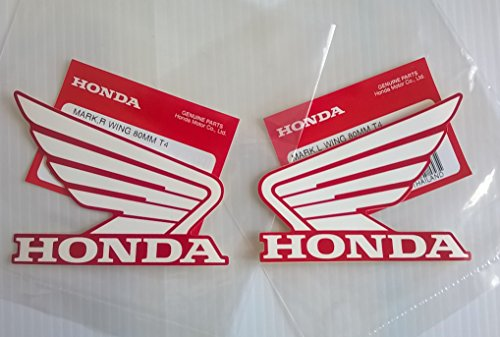 Honda Wings Fuel Tank Gas Tank Stickers Decals 2 X 80mm White / Red - Left & Right Brand New 100% Genuine