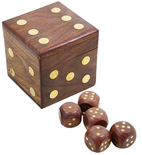 Handcrafted Box And 5 Dice Set Wooden Puzzles Dice Toys And Games - Unique Birthday Gift - 2.5