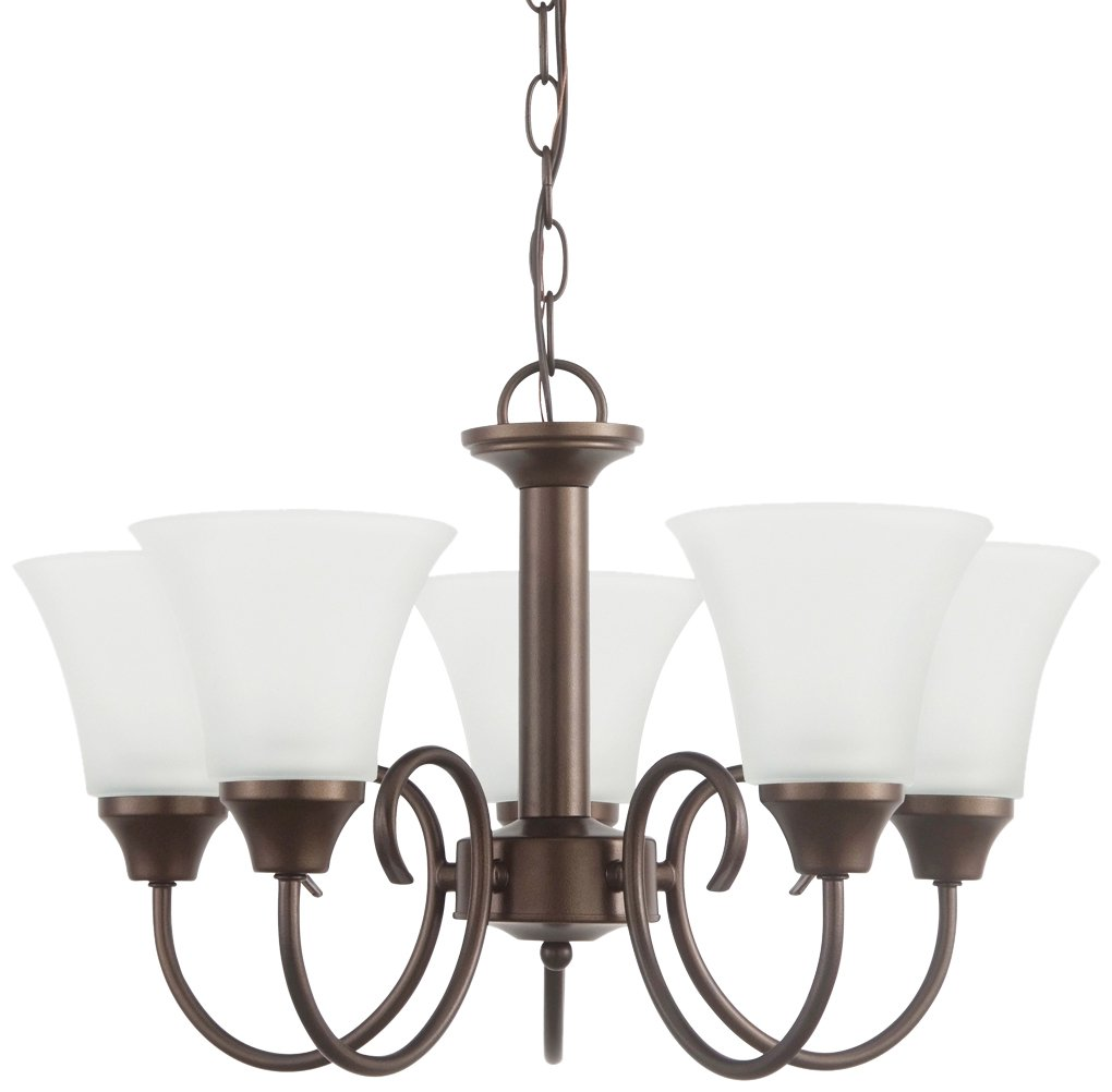 Sea Gull Lighting 31808-827  Bell Metal Bronze Finished Chandelier with Satin EtchedGlass Shades by Sea Gull Lighting