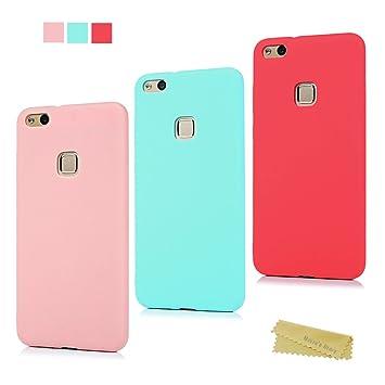 Maviss Diary Huawei P10 Lite Funda Carcasa Silicona Gel Goma Flexible Case Ultra Delgado TPU Cover Protectora para Huawei P10 Lite - Roja+Rosa+Verde ...