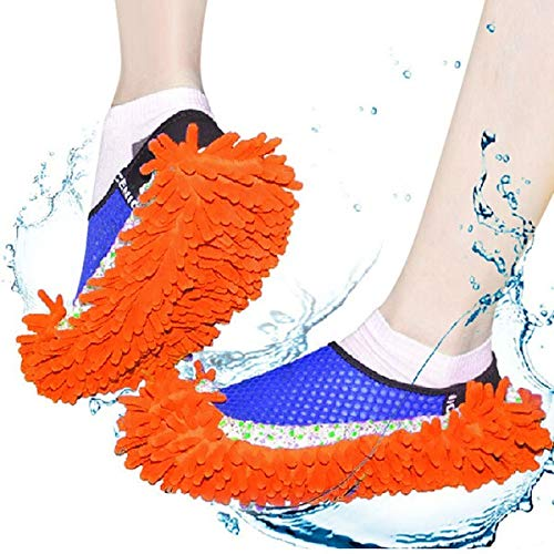 CLUEMART Multi-Function Washable Dust Mop/Floor Cleaning Slippers (24 x 12 cm/9.4 x 4.7-inches,Chenille Fibre, Assorted Color) Price & Reviews