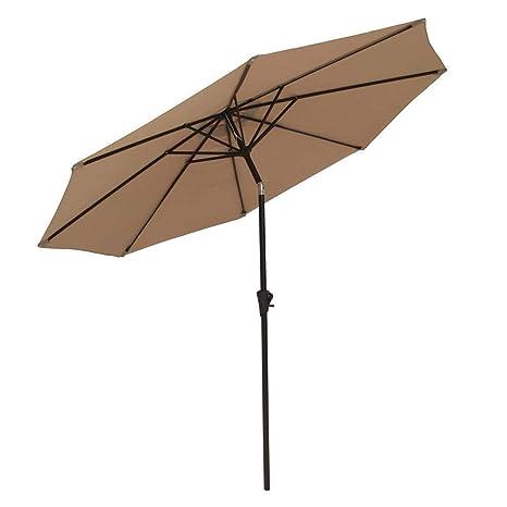 COBANA Patio Umbrella Outdoor Aluminum Table Umbrella of 9-Feet with 8 Ribs  and Push Button Tilt and Crank, Beige